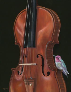painting of violin with bird