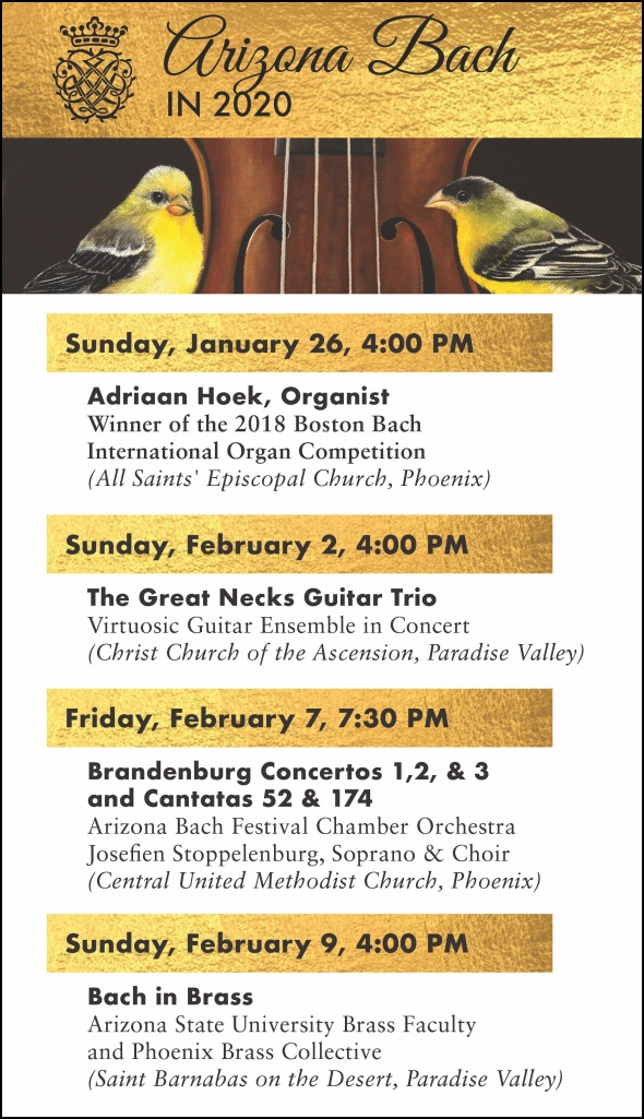 Arizona Bach Festival - 2020 Schedule
