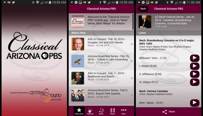 Classical Arizona PBS mobile app
